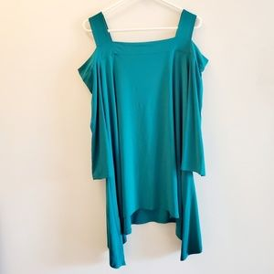 Tops - NWT teal green plus size cold shoulder top